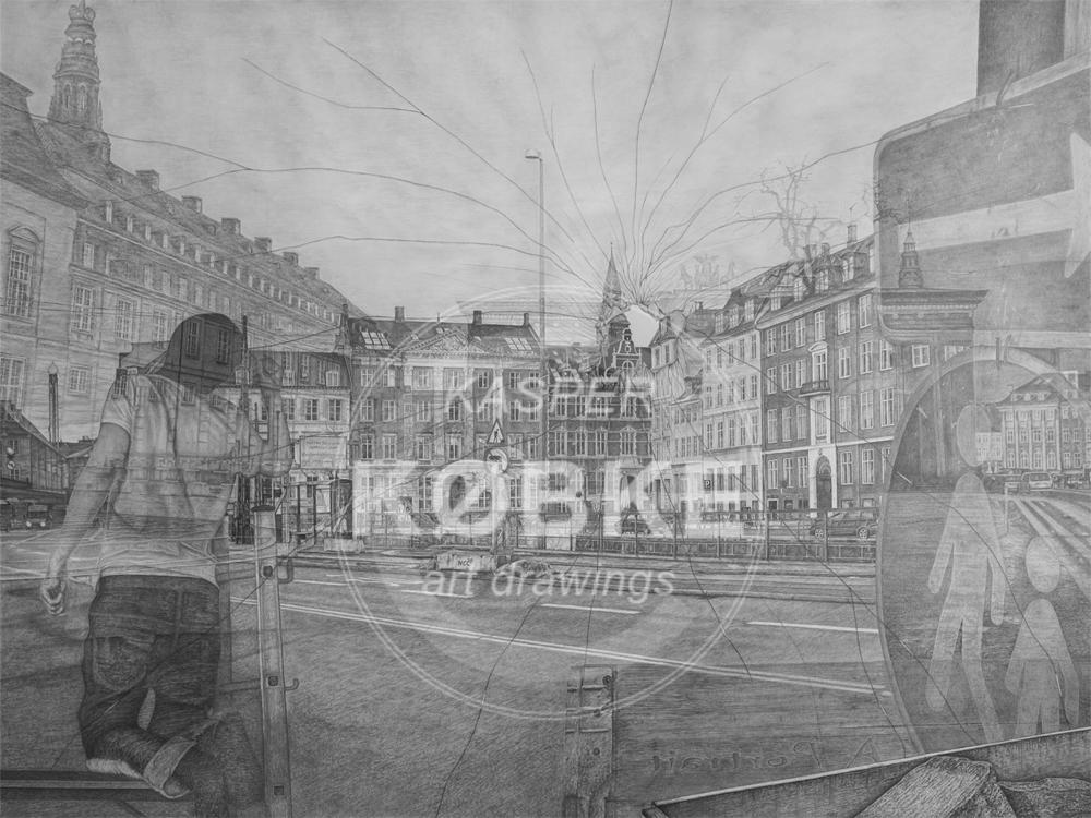 Kasper Købkes håndtegnede værker - et portræt i 160 x 120 cm